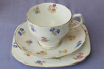 Vintage Tuscan Trio, medley of flowers  tea cup saucer and plate