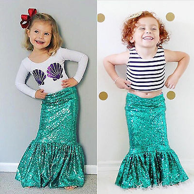 Kids Girls T-Shirts Tops + Mermaid Tail Fancy Dress Cosplay Costumes Outfits Set