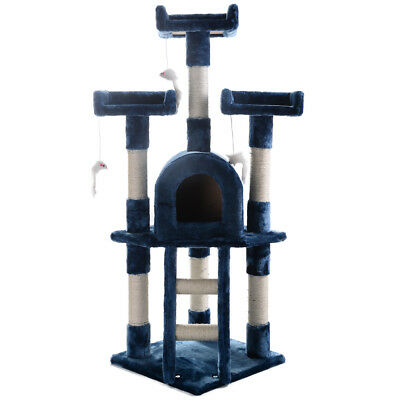 Cat Tree Post Scratcher Furniture Condo Play House Pet Bed Kitten Toy Navy blue