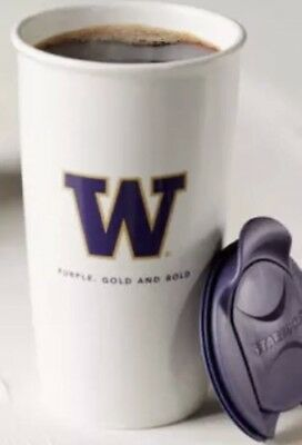 New STARBUCKS UNIVERSITY OF WASHINGTON Huskies UW Ceramic TUMBLER 12 oz
