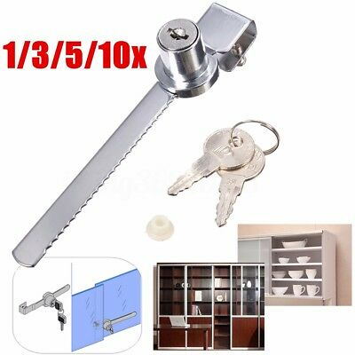 1-10PCS Sliding Keyed Lock for Drawer Cabinet Display Case Showcase Door +2 KEY
