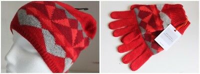 John Lewis Geo Fairisle Red Beanie Hat, Gloves or Set
