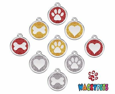 GLITTER Engraved Personalised Dog ID Tags / Discs Paw / Bone / Heart