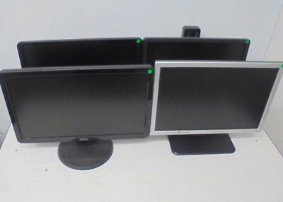 "4 X Dell Widescreen Monitors with Stands 18.5"" 19"" 20"" IN2010Nb S2009Wb SE198WFP"