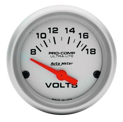 Auto Meter Voltage Pro Comp Gauge Ultra-Lite Analogue Voltmeter 52mm 8-18v #4391