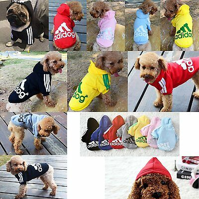 Cute Pet Dog Cat Adidog Warm Winter Casual Clothes Hoodie Coat Sweatshirt Jacket