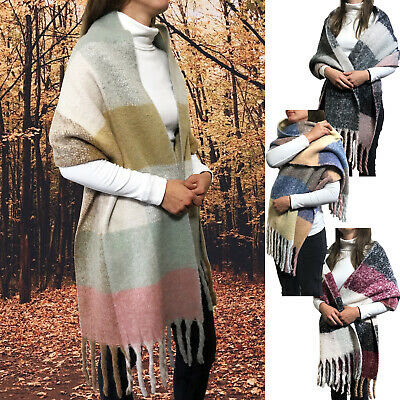 Ladies Womens Large Soft Winter Warm Fringed Check Scarf Blanket Wrap Shawl