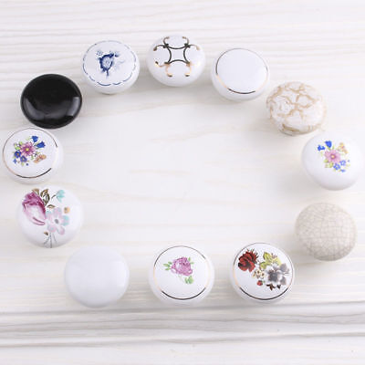 Fashion Flower Ceramic Round Cabinet Wardrobe Drawer Cupboard Knob Pull Handle