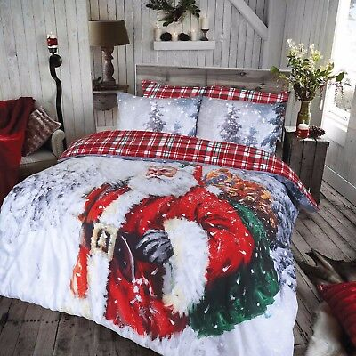 Vintage Father Christmas Duvet Cover Pillow Cases Bedding Set Single Double King