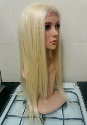 human hair wig, bleach blonde, lace front, straight, long