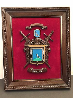"""Sheehan Coat of Arms Framed Picture Personalized Wall Art 14"""" X 17"""" Red Velvet"""