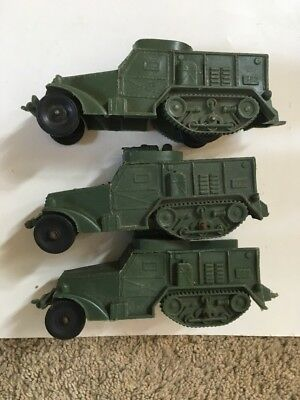 (3) Vintage Auburn Rubber Army Half Tracks Olive Green With Black Tires #2