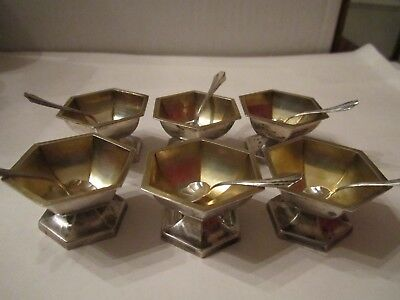 """6 Sterling Silver Salt Cellars With Spoons - 1 1/4"""" Tall - 82 Grams Tw"""