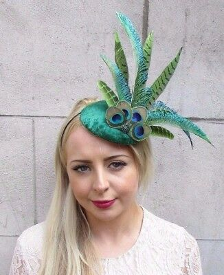 Emerald Green Peacock Pheasant Feather Fascinator Pillbox Hat Races Vintage 3915
