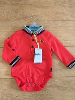 Ted Baker Baby Boy 6-9 Months Bodysuit, Tipped Collar And Cuffs. BNWT! Cute Gift