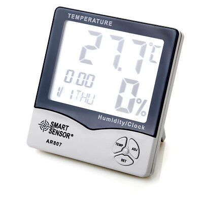 Digital LCD Thermometer Hygrometer Temperature Humidity Meter Gauge Clock Indoor