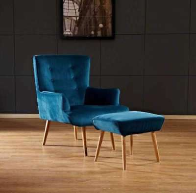 Flat Velvet Florence Chair With Stool Turquoise