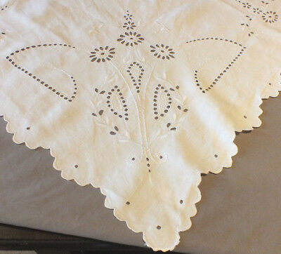 Vintage White Linen Whitework Embroidered Square Tablecloth