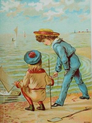 1870's-80's Victorian Trade Card Beach Scene Boys Sailor Suits Toy Sailboat P41