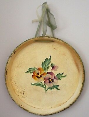 Vintage Toleware Round Tray - Hand Painted Flowers PANSIES Wall Hanging