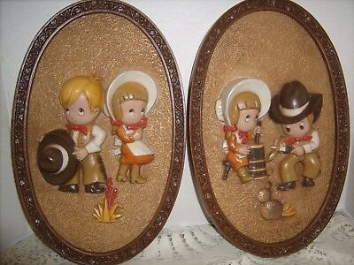 Vintage Home Interior Homco Big Eyes Cowboy & Cowgirl Plaques set
