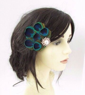 Ivory Silver Rose Gold Green Blue Peacock Feather Fascinator Hair Clip 20s 3922