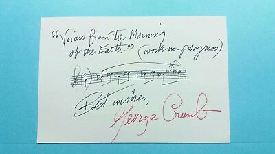 """George Crumb Musical Quote 4X6 """"voices From The Morning """""""