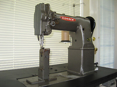 Serviced Commercial Consew 229 Post Bed Walking Foot Leather Sewing Machine