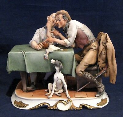 Giuseppi Galli Figurine with Men at Table with Chicken and Dog