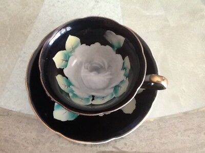 Bone China Tea Cup and Saucer Made Japan Black with White Rose Handpainted