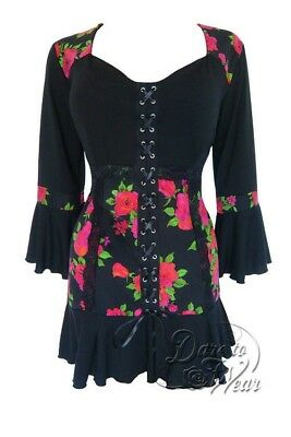 Dare to Wear Victorian Gothic Plus Size Cabaret Corset Top in Rose Noir