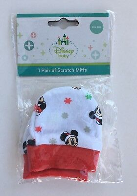 Disney Mickey Mouse Baby Boys Girls Scratch Mitts One Size Christmas Theme