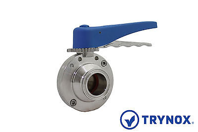 1.5'' Sanitary Butterfly Valve Clamp Ends Silicone 304 Stainless Steel Trynox