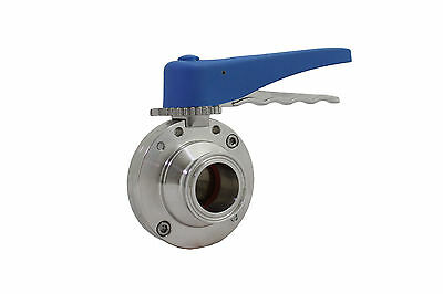 1'' Sanitary Butterfly Valve Clamp Ends Silicone Seal 304 Stianless Steel Trynox