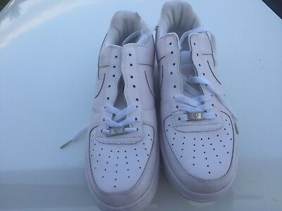 New Men's Nike Air Force 1 Low Authentic Shoes, White/Cream, Size 10