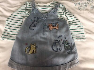 Next Baby Girl Denim Pinafore With Striped Top 6-9 Months