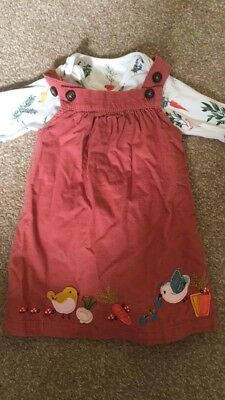 M&S Girls Cord Pinafore Dress And Body Suit 3-6 Months