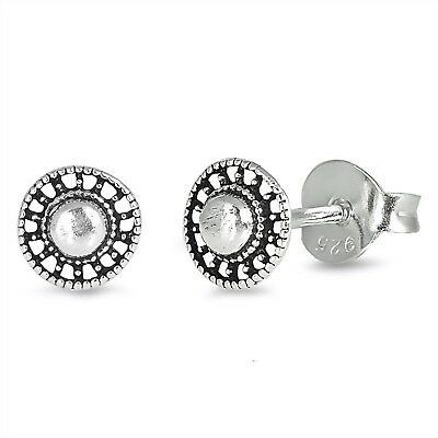 5mm Tiny Bali Design Round .925 Sterling Silver Push Back Womens Earrings Pair