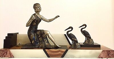 1930 Art Deco Sculpture Figure Lady With Birds By Molins