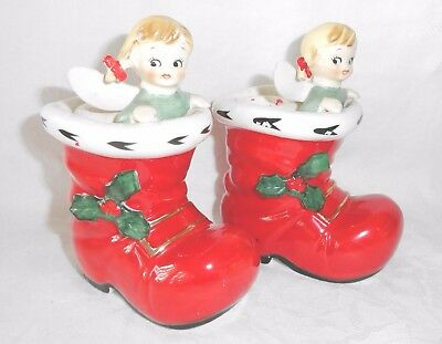 Pair Vtg Lefton Angels in Santa's Boot Candle Holders Rare 1960s Japan Item 1906