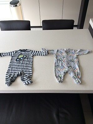 Boys Next 6-9 Months Alien Design Baby Grows X 2