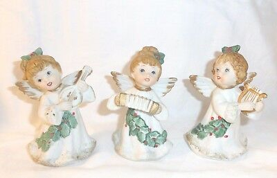 VTG Homco Christmas Angel Figurines Band Musical Porcelain Bisque 5252