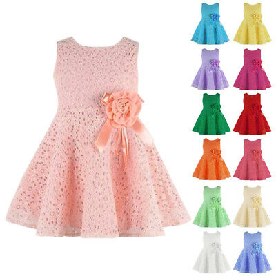 Baby Girls Lace Princess Formal Party Wedding Dress Flower Sleeveless Gown UK