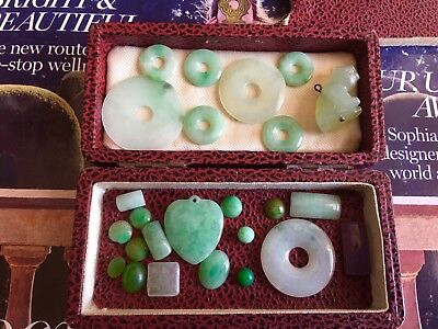Joblot 19thC Chinese Natural Icy Green/white Jade Jadeite Pieces, Not Treated