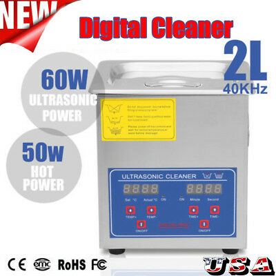 2L Ultrasonic Cleaner Stainless Steel Industry Heated Heater Tank w/Timer New