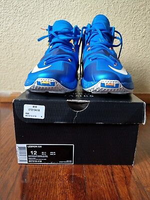 44b557273ce Nike Men Lebron James XIII 807219 418 Blue Yellowish Orange White Size 11.5