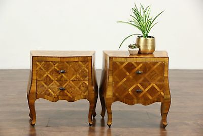 Pair Italian Olivewood Bombe Small Vintage Chests, End Tables or Nightstands