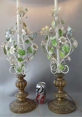 Antique Shabby Vtg Chic Italian Florentine Wood & Tole Flowers Table Lamp Pair