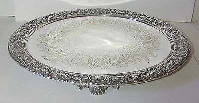 Highly Ornate Solid Silver Salver London 1863 Stephen Smith & William Nicholson
