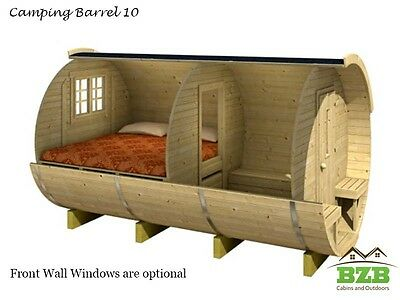 BZBCabins 10' Camping Barrel Kit, Two Rooms, Porch, Solid Wood, FREE Shipping!!!